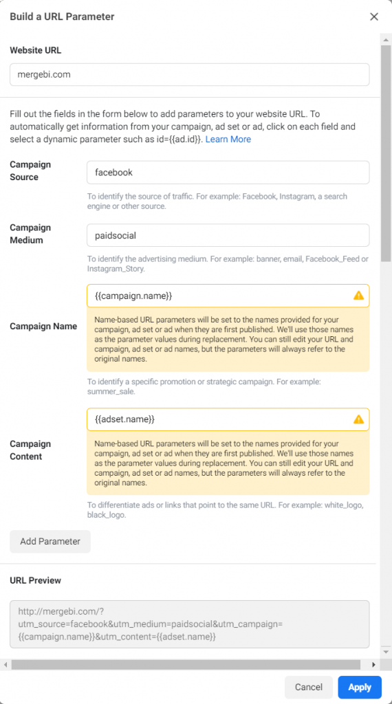 Image of the facebook Build a parameter pop-up