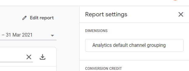 Change to channel from default channel grouping on attribution tool