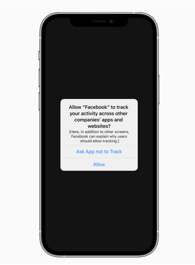 Iphone with pop-up asking if user would like to ask the App not to track